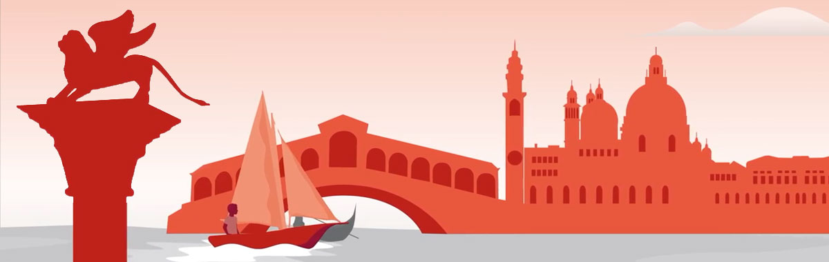 illustration with Generali logo lion statue, boat on river, buildings
