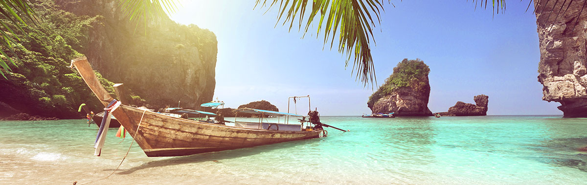 Boat on beach at Koh Phi Phi, Thailand