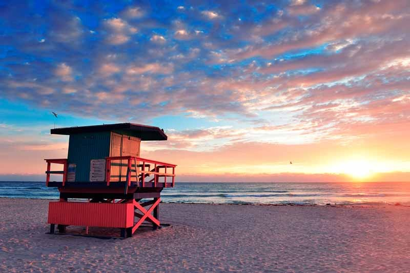 South Beach, Miami, sunset and lifeguard tower